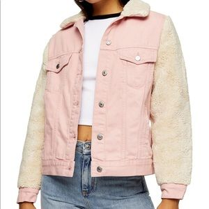 NWT Topshop Denim Shearling Sleeve Jacket